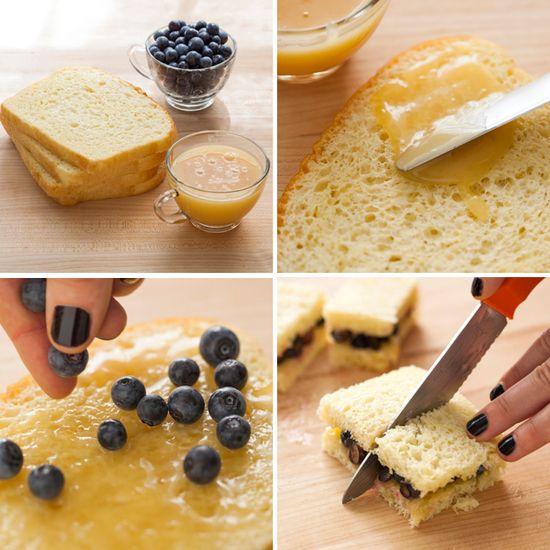Craving something sweet? Make a lemon curd + blueberry tea sandwich for dessert.
