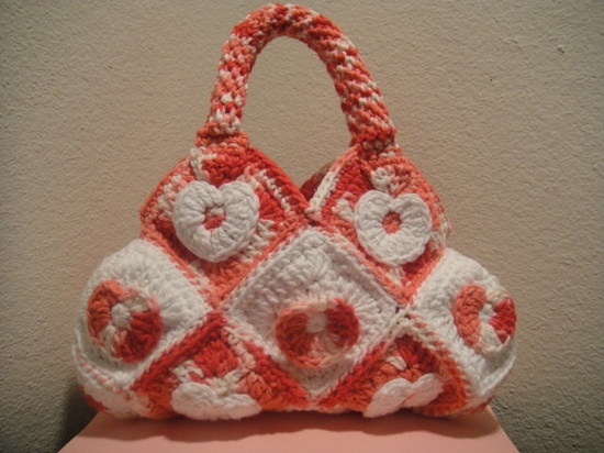 Valentines Crochet Handbag in Rose and White Hearts. $65.00, via Etsy.