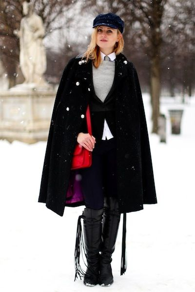 Snowy street style at the couture shows in Paris