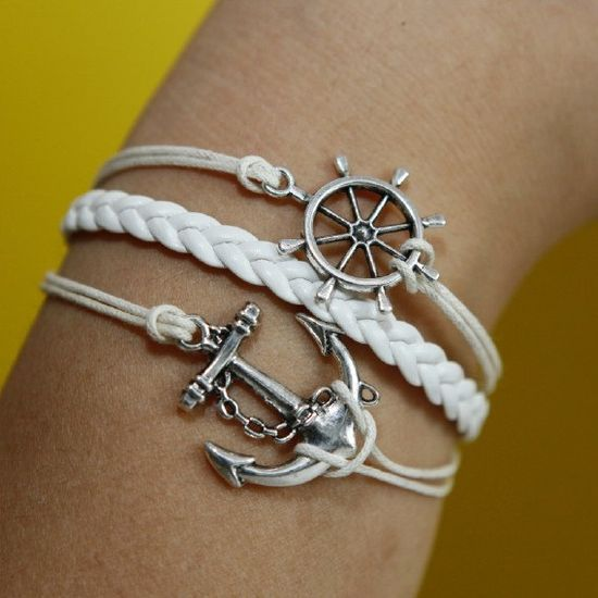 $5.00 Anchor and rudder Bracelet silver bracelet white wax cords,white braided leather bracelet