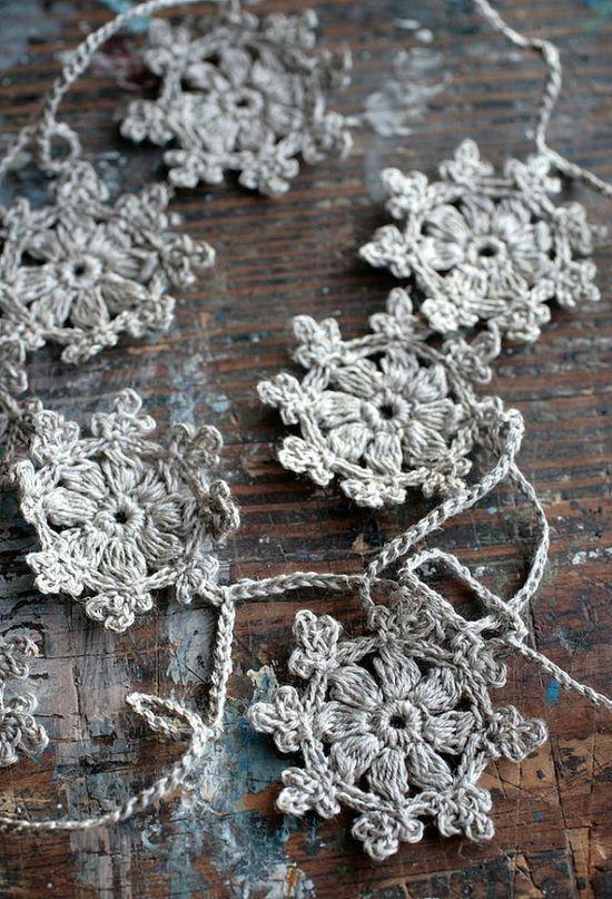 Crochet Garland  Snowflake garland - natural linen