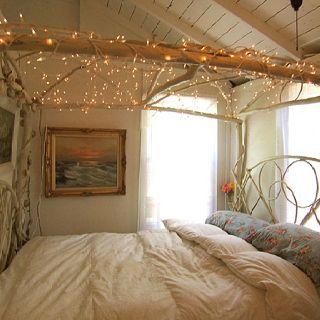 Fairy light bedroom