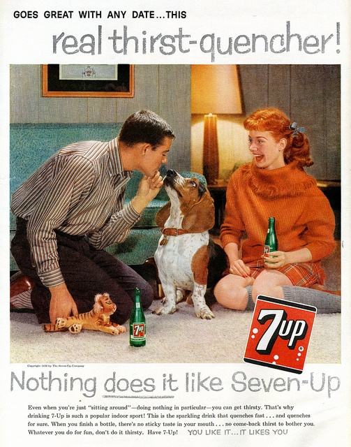 7-Up goes great with any date! #1950s #ads #vintage #soda_pop