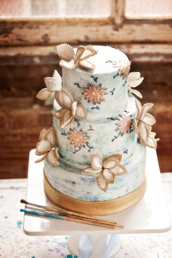 painterly wedding cake by CharlotteWeddingC... photo by CunninghamPhotoAr...
