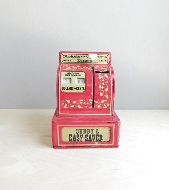vintage toy cash register bank / cherry red