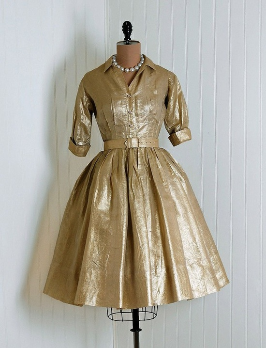 1950's Suzy Perette Metallic-Gold Lame Belted Shirtwaist Cocktail/Party Dress   From TimelessVixenVintage