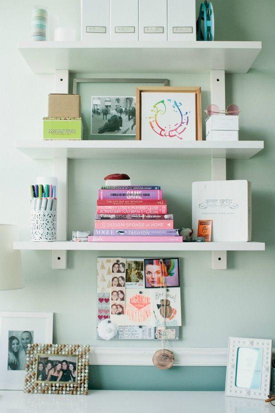 floating shelves = office