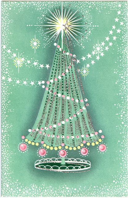 Vintage Christmas - Pink, Green and Silver Tree