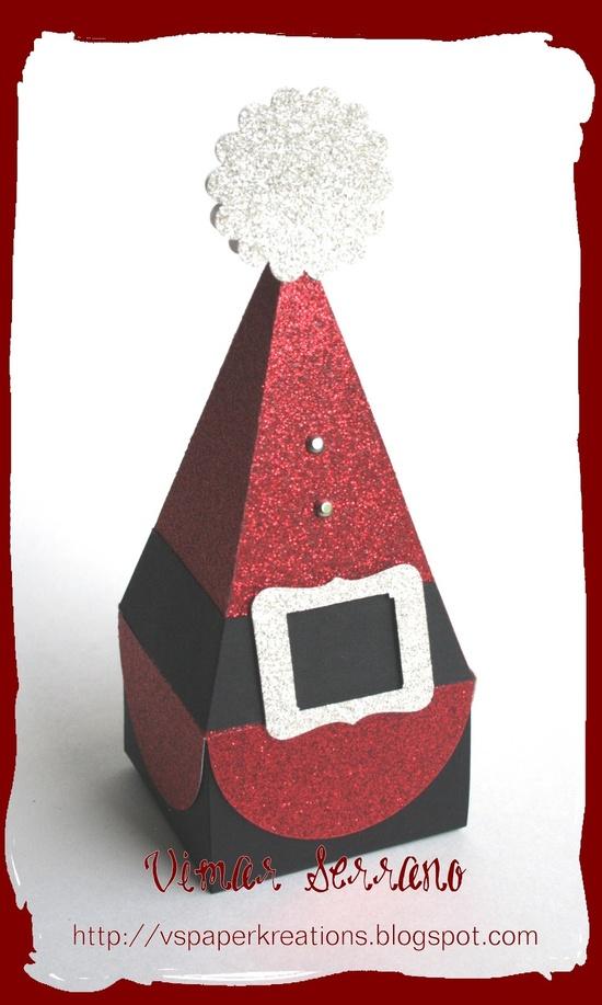 Santa's Treat Box.  Uses Petal Cone Die.