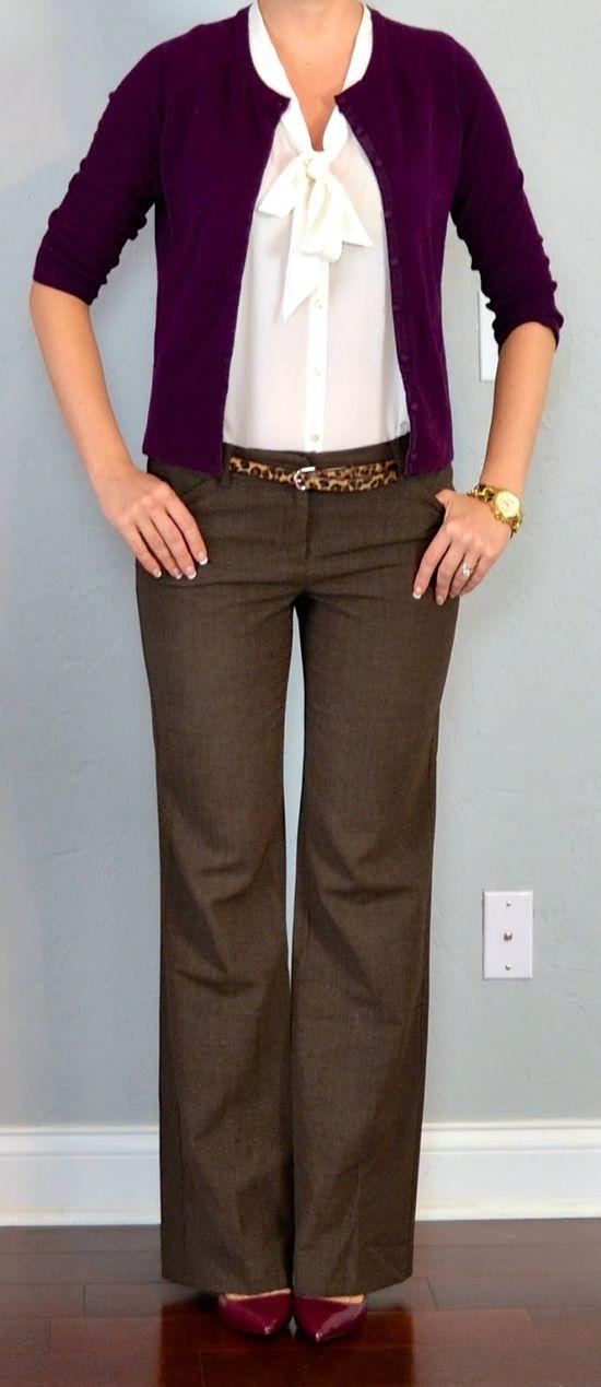 Outfit Posts: outfit post: burgundy cardigan, white tie blouse, brown 'editor' pants, leopard belt - My interpretation: looplooks.net/...