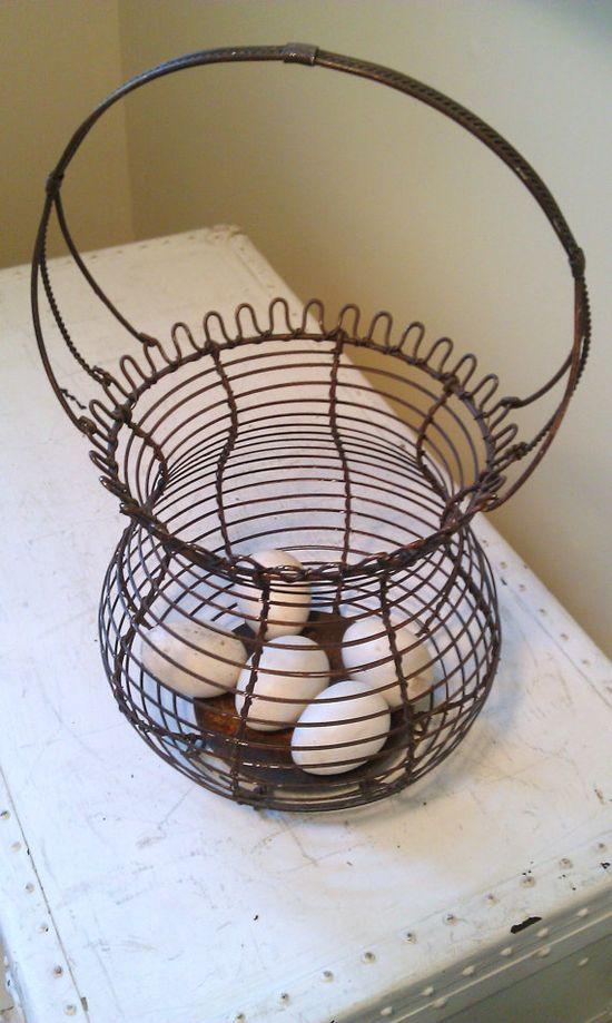 Vintage French Wire Egg Basket by shabbychatue on Etsy, $29.00