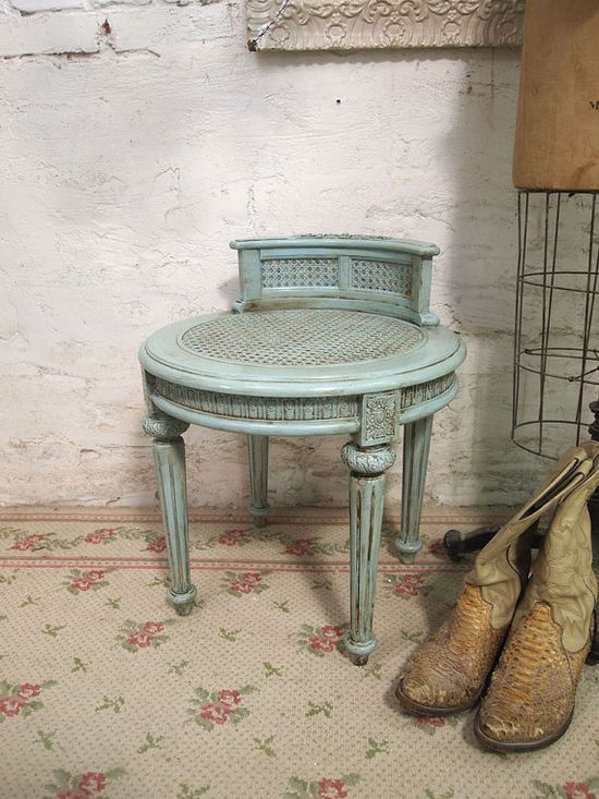 Painted Cottage Romantic Aqua Chic Stool ST201 by paintedcottages, $159.00