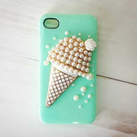 MINT ICE-CREAM & ROSE IPHONE CASE