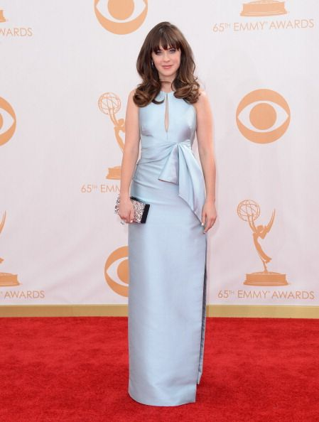 The 2013 Primetime Emmy Awards: The Good, the Bad, and the Meh: Best: Zooey Deschanel in J. Mendel  Would've been better if her hair was up, but it's cool to see her in a column and not a party dress/black tights combination. Also, she looks like Alexis Bledel in this pic.