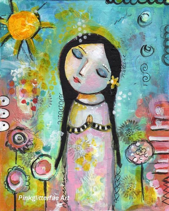 Primitive Folk Art Girl Sun Nature Lover by pinkglitterfae on Etsy, $48.00