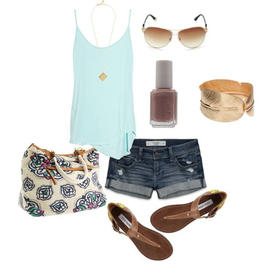 Summer outfit. Love the brown and baby blue combination. Where are you summer???