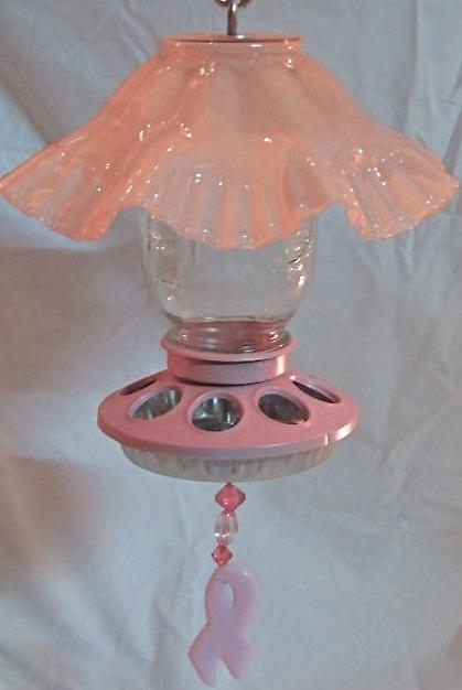 Handmade Bird Feeder/Garden Art/Pink