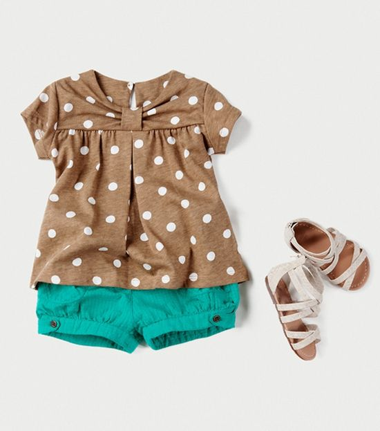 Zara for baby. Love the brown and white polka dots paired with turquoise.