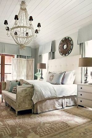 22 Romantic Bedrooms.  ? the bench, chandelier thing and headboard.