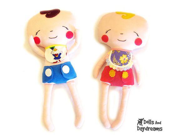 Baby Cloth Rag Doll PDF Sewing Pattern Dress by DollsAndDaydreams, $10.00