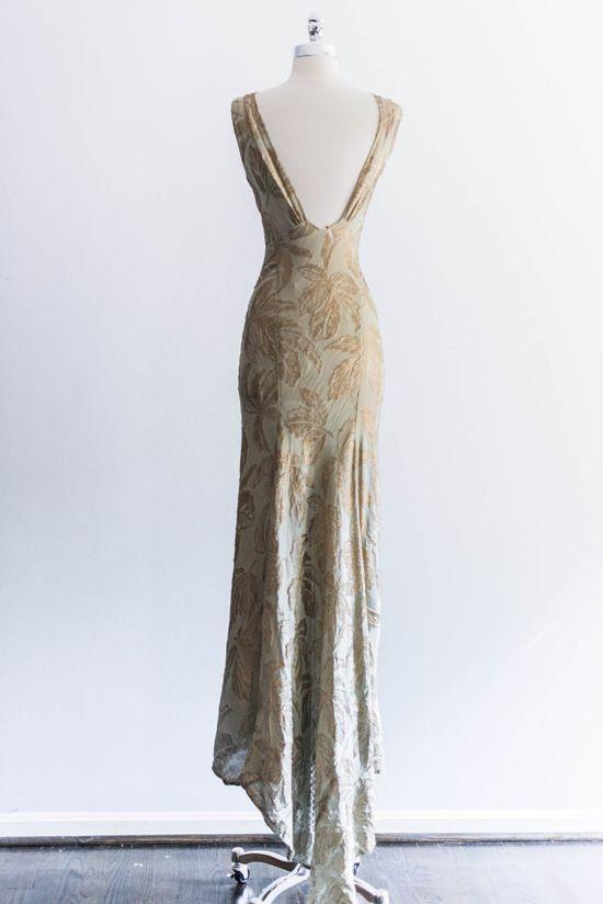 1930s Lame and Crepe De Chine Bias Cut Dress by ShopGossamer