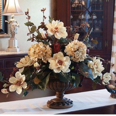 Elegant Magnolia & Hydrangea Silk Floral Arrangement