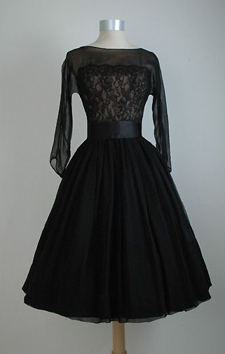~1950s Black Silk Chiffon and Lace Dress from B Altman and Co~
