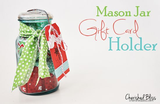 Mason Jar Gift Card Holder via cherishedbliss.com // #christmas #giftcard #wrapping #masonjar