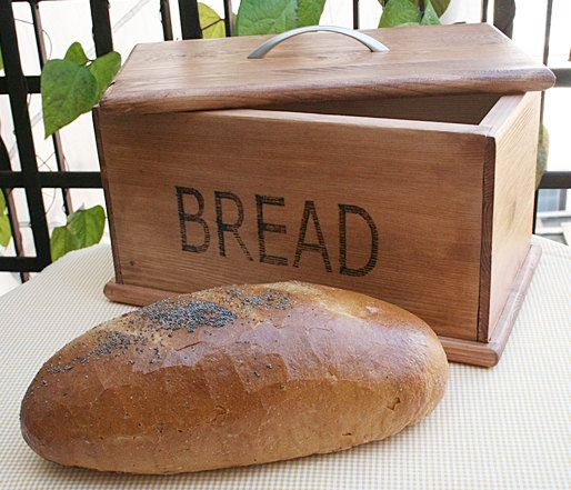 Wooden handmade bread box. Rustic style.. $75.00, via Etsy. I could totally make this!