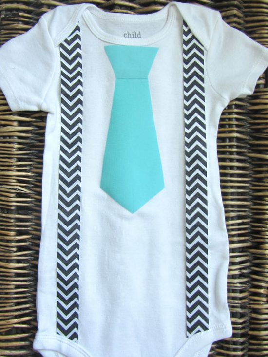 Baby Boy Clothes Blue Tie Onesie Black Chevron by SewLovedBaby