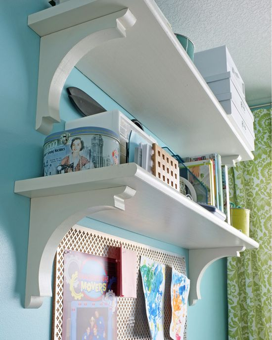 DIY:  Need shelving?  Use stair treads and corbels, both are inexpensive & can be found at home improvement stores. Very basic DIY.