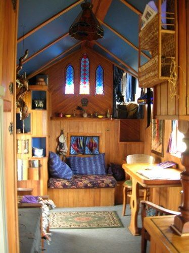 Inside of another Tiny Home on wheels. Love the high ceilings.