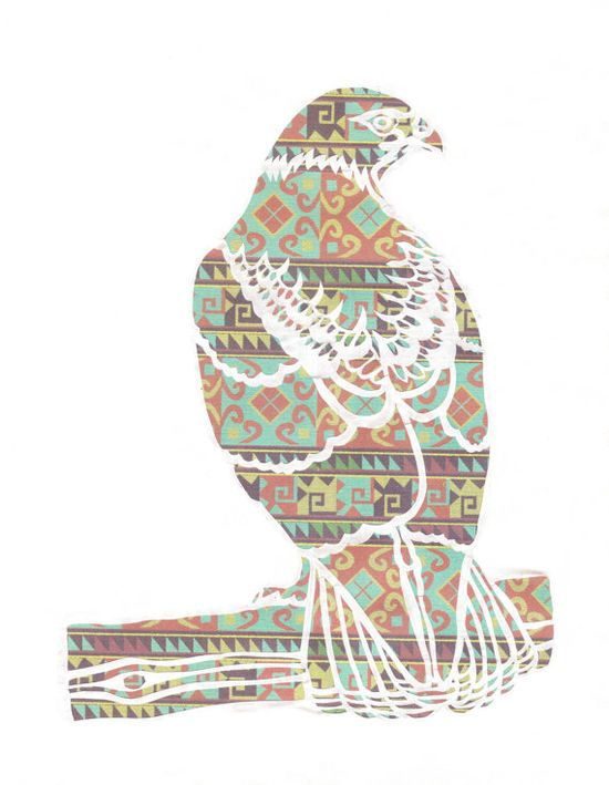 papercut - red tailed hawk