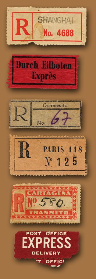 Vintage Mail Labels. Can recreate for your family history book.