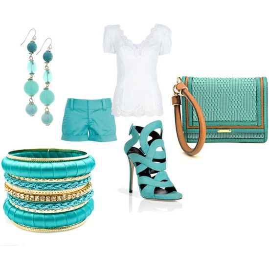 Turquoise outfit, created by shawndcox
