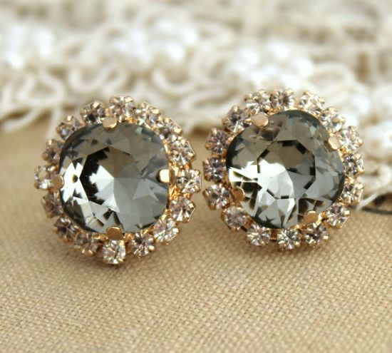 Black diamond Smoky Gray Crystal Rhinestone stud by iloniti, $43.00