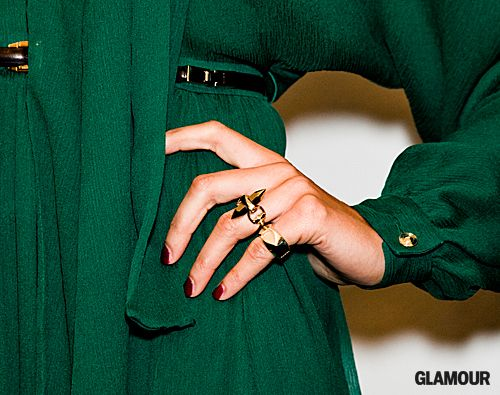 emerald green + gold + red nails