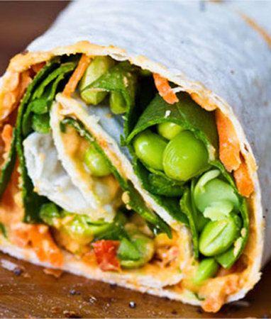Hummus, avocado, edamame, carrots, & spinach wrap