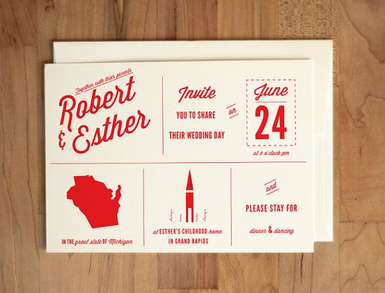 Custom State and Symbol Wedding Invitation