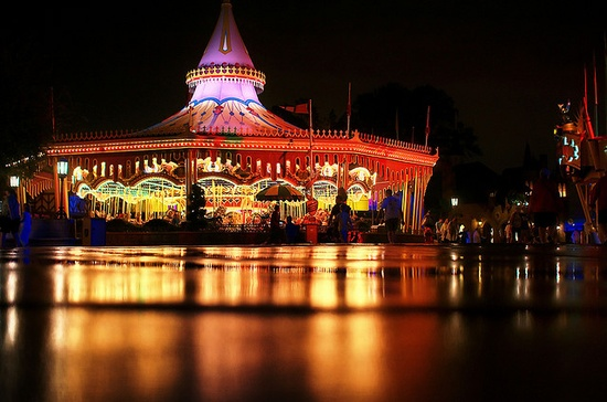 Cinderellas Golden Carousel at Night
