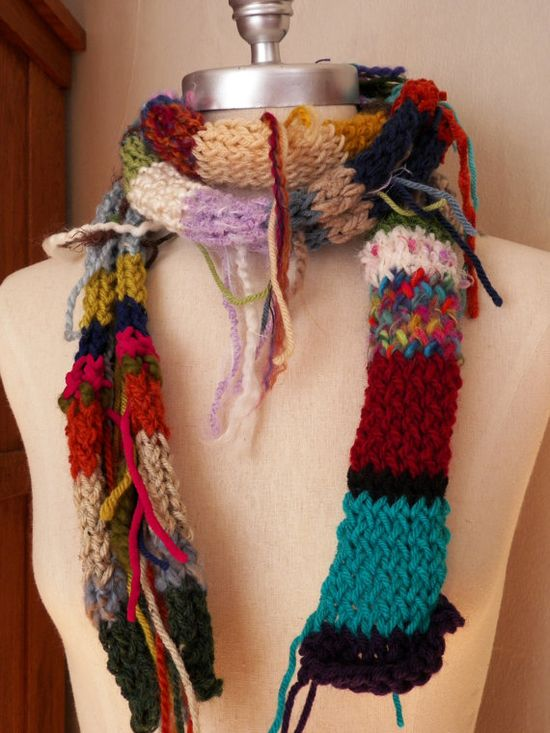 """scrap yarn """"junk scarf"""" My friend got one from Kohl's and I'm attempting to make one."""