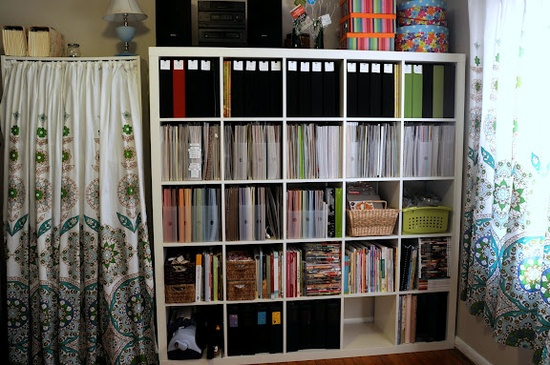Craft Room Storage Ideas #officespace #roomdesign #craftroom #craft #room #idea #inspiration #decor #cube #storage #organization #ikea #expedit #shelving #bookcase #scrapbook #scrapbooking #stamping #sewing
