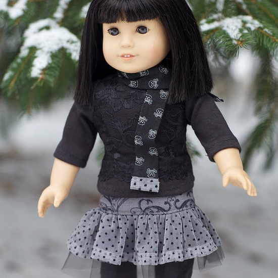 Gothic style outfit for American Girl Dolls made using Liberty Jane Patterns