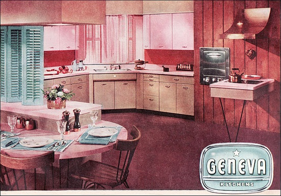 1955 Geneva Kitchen w/ pink cabinets