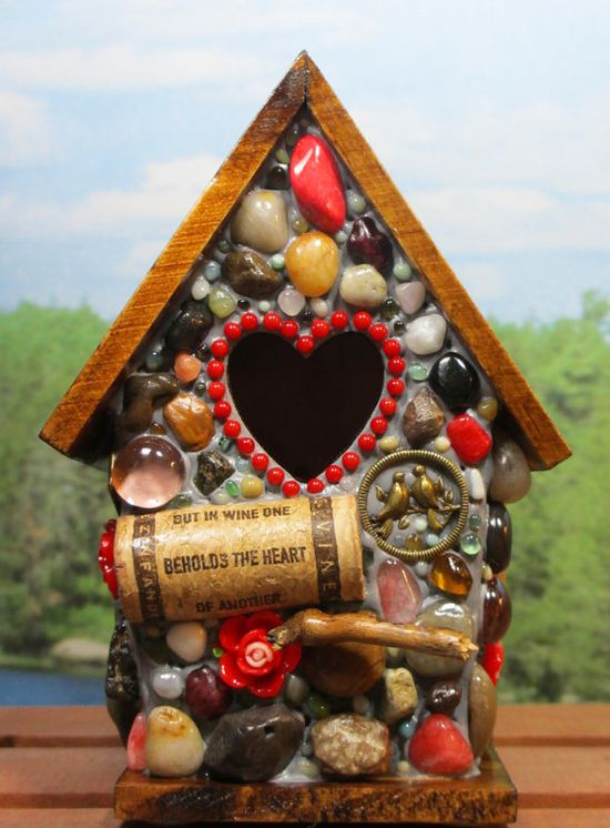 Mosaic Red Heart Birdhouse with wine cork art and roses
