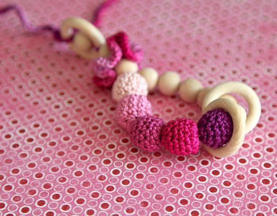 Teething toy rattle with crochet wooden beads and 3 wooden rings. Pink, lilac, purple $20