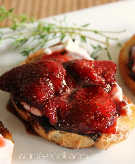 Balsamic Strawberry Preserve and Yogurt Crostini Recipe