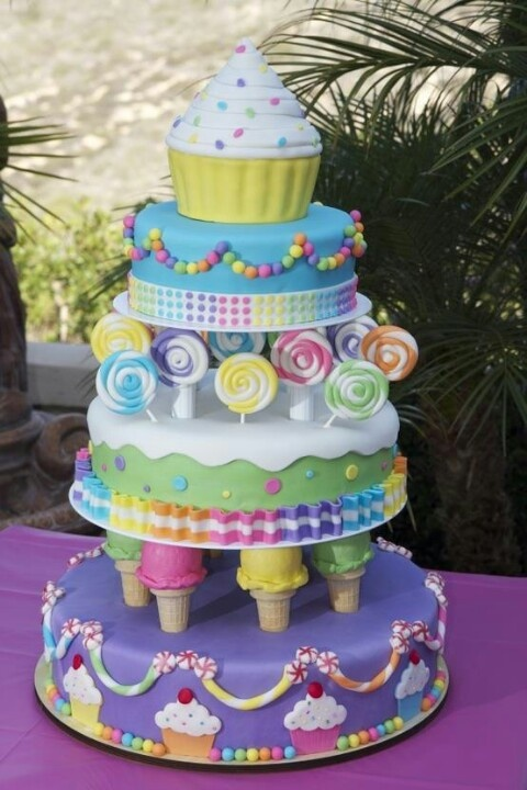 "Cake, ice cream and candy cake design. We can help achieve this look by checking out our website for cake dummies, cake boards and cupcake stands! 10% off with ""pinterest2013"" at www.dallas-foam.com"
