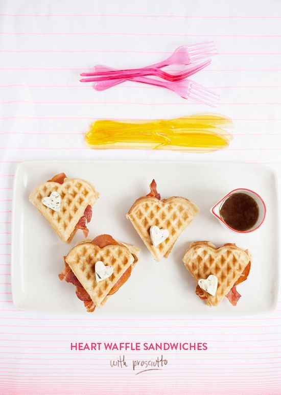 waffle breakfast sammies with heart-shaped butter!
