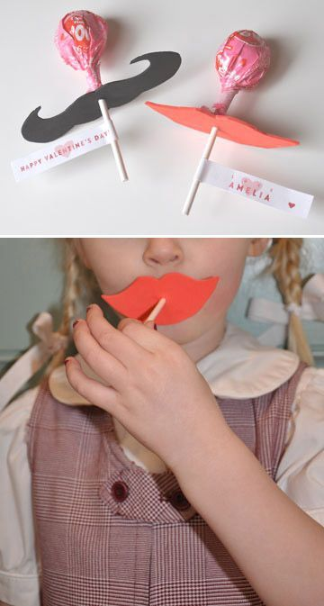 I'm totally making these Moustache and Lip Lollipops for Madison's classmates for Valentine's Day this year!
